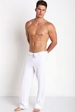 Mens easy straight cotton home pants pajama simple pure color line  slacks casual household
