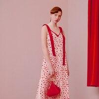 Линетт CHINOISERIE Летние оригинальные Дизайн Для женщин Мода отпуск горошек Спагетти ремень платья