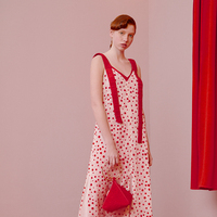 LYNETTE'S CHINOISERIE Summer Original Design Women Fashion Vacation Polka Dot Spaghetti Strap Dresses