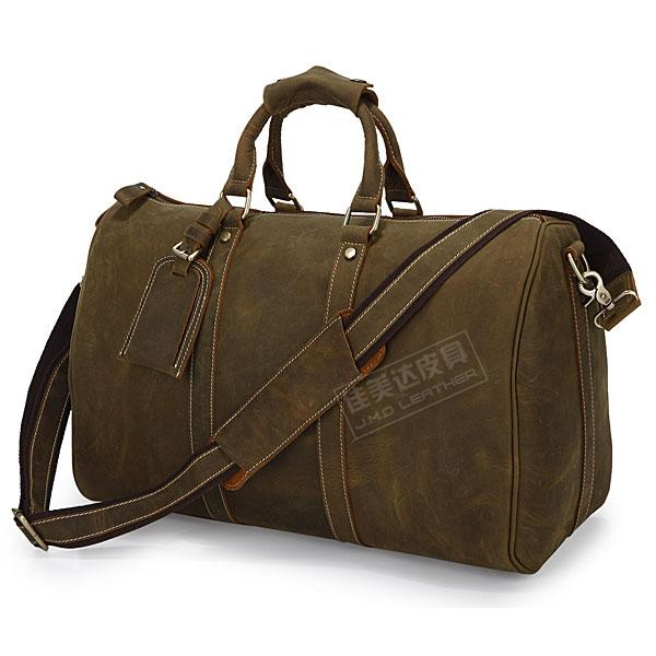 HOT SALE! Fashion vintage quality crazy horse leather horizontal Large Luggage travel bag luggage bag 7077r