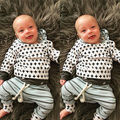 2 UNIDS Recién Nacido Bebé Muchacha de Los Muchachos Con Capucha Tops Sudadera + Pantalones Traje Ropa Set