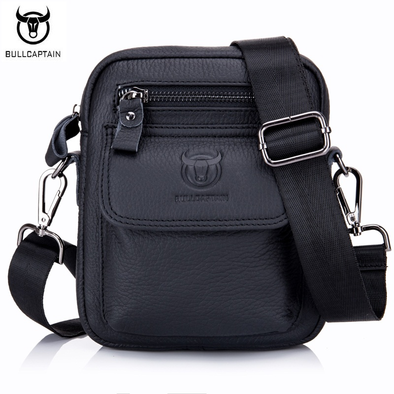 BULLCAPTAIN Casual Fashion Men Small Messenger Bags Genuine Leather Male Shoulder Crossbody Bags Men's Cowhide Flap Bag neweekend genuine leather bag men bags shoulder crossbody bags messenger small flap casual handbags male leather bag new 5867