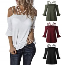 New Women Summer Sexy top Sling Strapless Halter Trumpet Sleeve Solid Color Casual Pullover Loose Tops layered trumpet sleeve botanical top