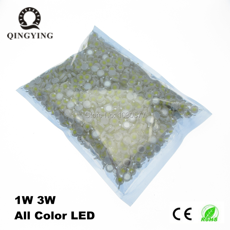 500pcs High Power 1W 3W LED Chips Bulb Light SMD Warm White Cool Red Blue Yellow Green Led Spotlight Epistar COB Diode Chip