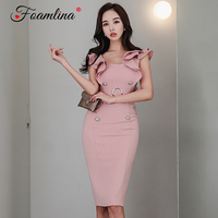 Foamlina Elegant Ladies Pink Bodycon Sheath Dress Summer Women Ruffles Sleeve Buttons Office Ladies Work Business Pencil Dress