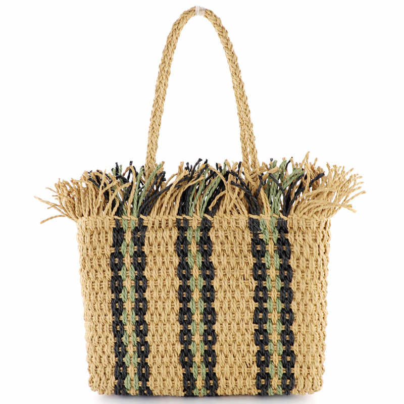 Female bag Portable Square striped straw bag fashion large capacity woven bag shoulder beach bagFemale bag Portable Square striped straw bag fashion large capacity woven bag shoulder beach bag