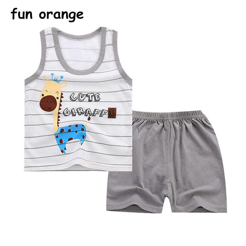 09e0b89ddfaa3 Fun Orange Summer Baby Boys Girls Clothing Set Children Clothes Set ...
