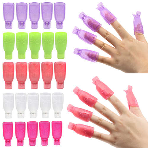 10x Bowknot Plastic Nail Art Soak Off Clip Cap UV Gel Polish Remover Tool  Tool Nail Art Tips for Fingers Nail Polish Remove