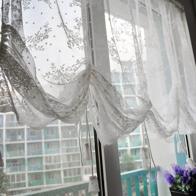 Free Shipping Quality Lace Curtain Drawstring Roman Blinds Coffee Waterfall Kitchen Curtains W 2m