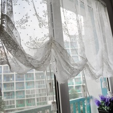 Lace Drawstring Roman Blinds Coffee Waterfall Curtains