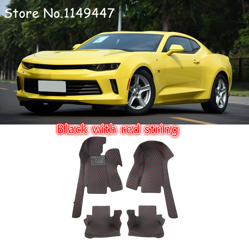 For Left hand Drive! two colors option Car-styling Interior Leather Floor Mats & Carpets Trim For Chevrolet Camaro 6th Gen 16-17 for mazda cx 5 cx5 2nd gen 2017 2018 interior custom car styling waterproof full set trunk cargo liner mats tray protector