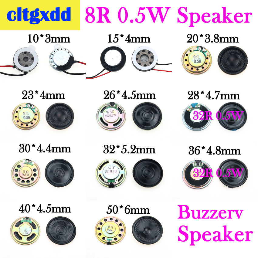Cltgxdd 8 Ohm 0.5W Horn Speaker 10/15/20/23/26//28/32/36/40/50MM Diameter 8R 0.5W Small Loudspeaker Buzzer