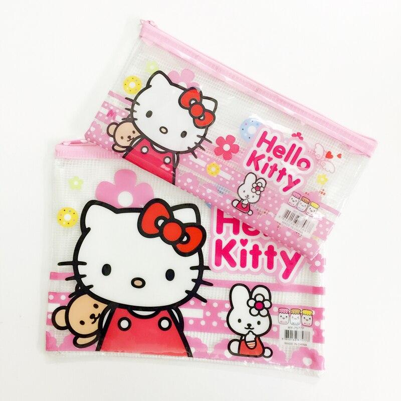 10 Teile/los Nette Kawaii Hallo Kitty Grid Bleistift Stift Tasche Datei Fall Student Schreibwaren Kinder Geschenk Lagerung Container Telefon Tasche