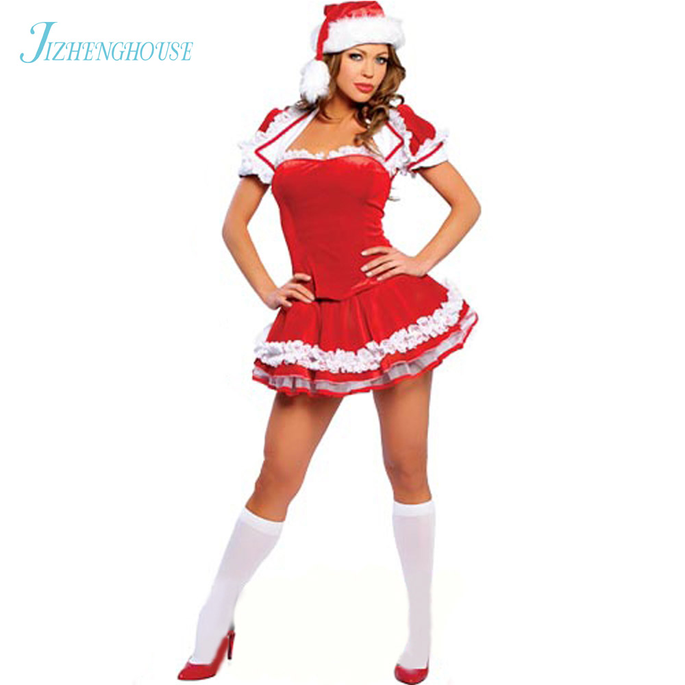 JIZHENGHOUSE Sexy Fitted Ladies XMAS Cosplay Party Clubwear Outfit Fancy Dress