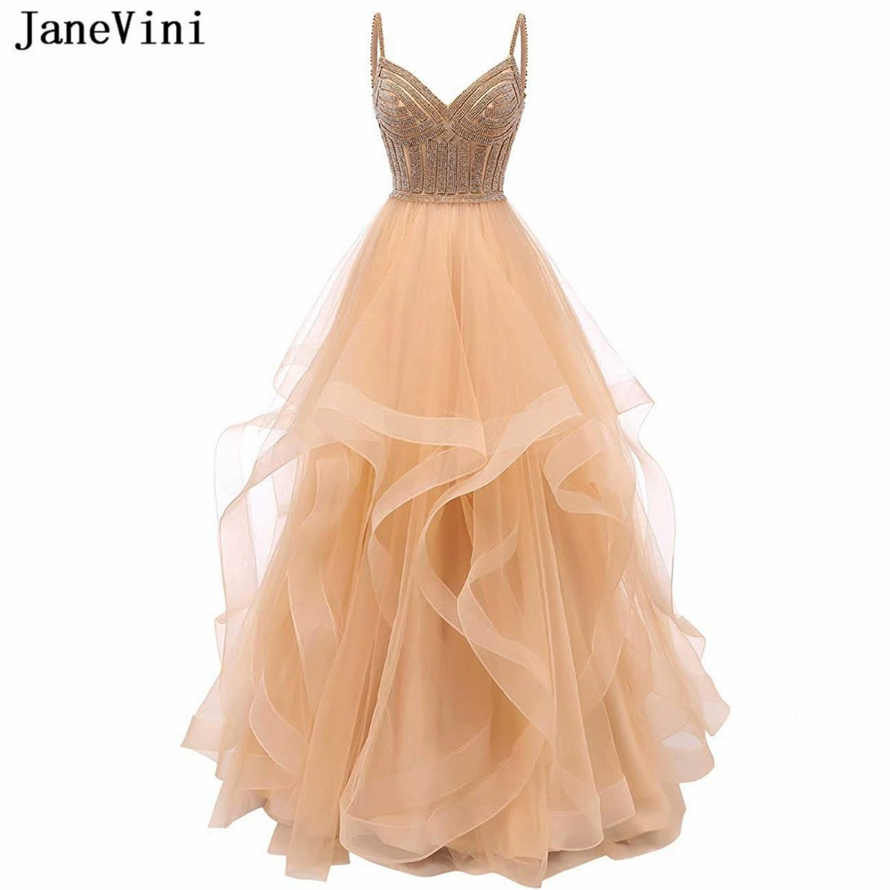 JaneVini Arabic Champagne A Line Ruffles Long Bridesmaid Dresses V Neck Heavy Sparkling Beaded Backless Luxury Tulle Prom Gowns