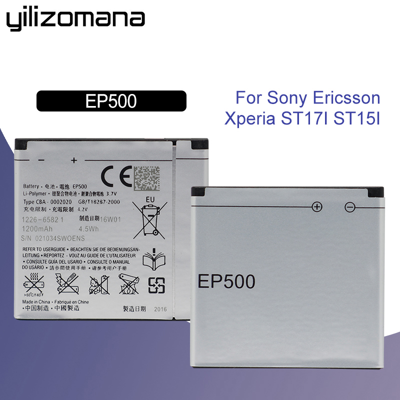 YILIZOMANA Original Replacement Phone <font><b>Battery</b></font> 1200mAh for SONY ST17I ST15I SK17I WT18I X8 U5I E15i Wt18i Wt19i <font><b>EP500</b></font> image