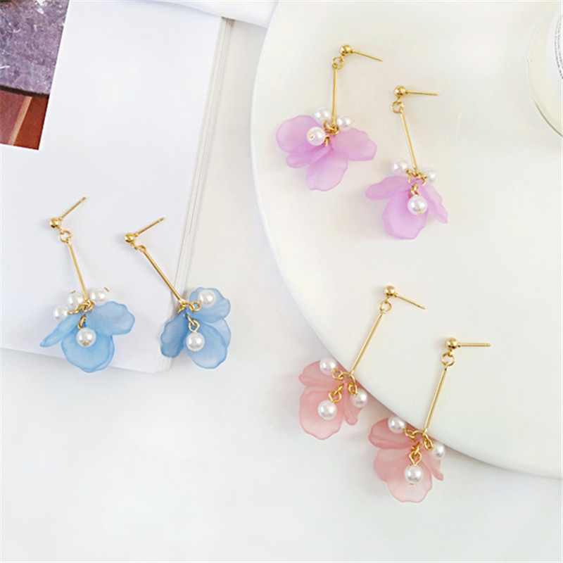 New Fashion Earring Super Fairy Frosted Flower Petals Stud Earrings Temperament Contracted Joker