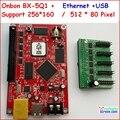 Onbon bx-5Q1, КОЭФФИЦИЕНТА в, ethernet, порт rj45, управление размером 512*80, поддержка HUB75, асинхронный полноцветный светодиодный контроллер дисплея