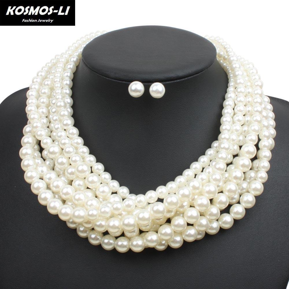 Multi Layer Pearl Strand Collar Necklace New Fashi