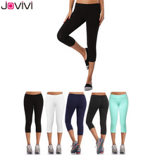 Jovivi 1 pc Women Calf-Length Pants Waist Sport Pants Solid Fitness Gy