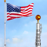 25ft Aluminum Telescopic Flagpole Portable Outdoor Flag Banner American Flag Flagstaff Decoration