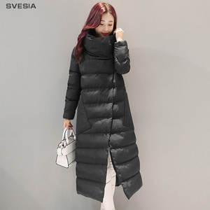 a7e58d1fc9 SVESIA Women s Parkas Elegant Stand Collar Asymmetry Long Winter Warm  Female Jackets Cotton Parka Outerwear Coats