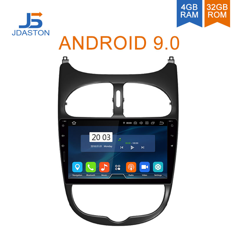 JDASTON Android 9.0 Car DVD Player For <font><b>Peugeot</b></font> <font><b>206</b></font> 2002 2003 2004 2005 2006 2007 2008 WIFI Multimedia GPS Stereo <font><b>2</b></font> <font><b>Din</b></font> Car Radio image