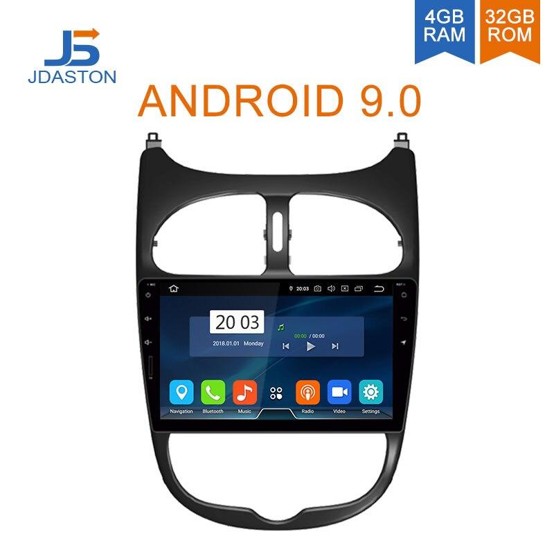 JDASTON Android 9.0 Lecteur DVD de voiture Pour Peugeot 206 2002 2003 2004 2005 2006 2007 2008 WIFI GPS Multimédia Stéréo Autoradio 2 Din