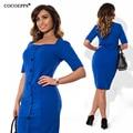 COCOEPPS модно плюс размер повседневная женщины dress 2017 осень лето стиль твердые Колен Платья больших размеров свободные синий dress