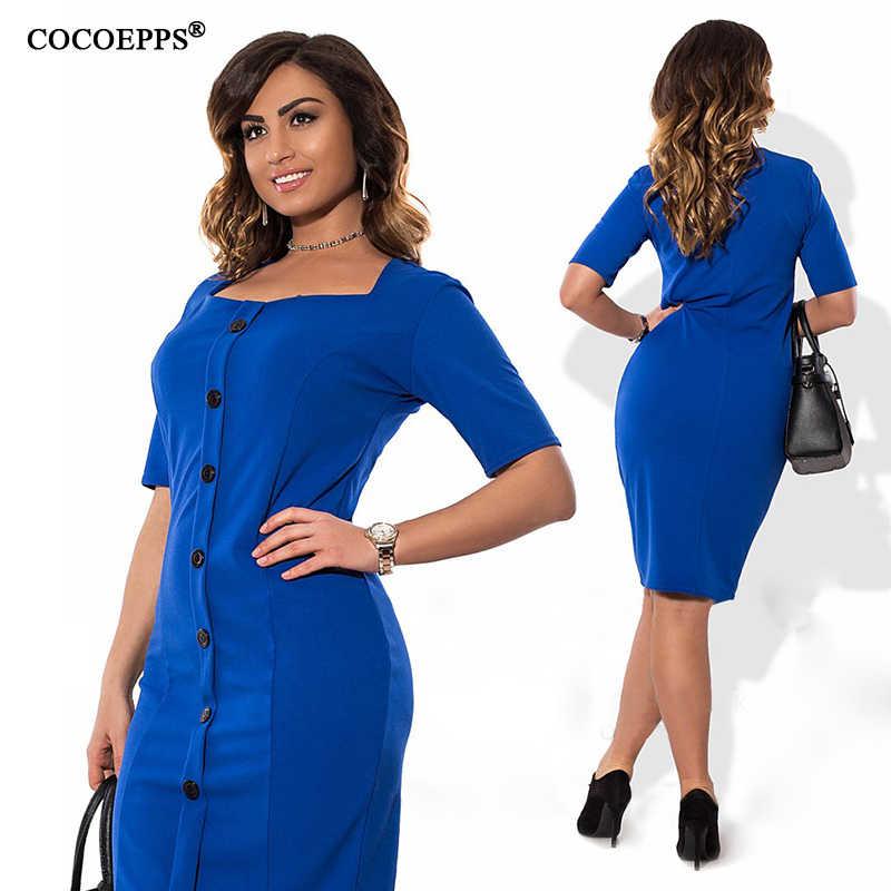 0b3bd55ad91c6c5 ... COCOEPPS модное повседневное женское платье больших размеров 2019  осень-лето Стильное однотонное платье до колена ...