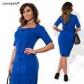 Cocoepps moda plus size mulheres casual dress 2017 estilo verão outono sólida na altura do joelho-comprimento vestidos tamanhos grandes solto azul dress