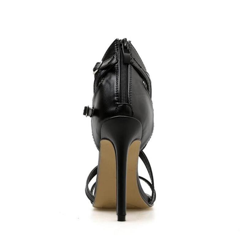 HiHopGirls New Summer Sandals Sexy Black Pu Multi-button Buckle Cross Roman Sandals Woman Fashion Banquet Shoes 3
