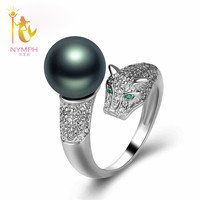 NYMPH Brand Tahitian Black Pearl Ring Leopard S925 Sterling Silver Natural Sea Pearl Ring For Women