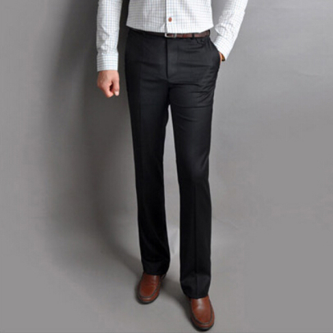 O Envio gratuito de New Mens Slim Fit Calças Formais Vestido Casual retas Calças Calças 2 Cores Preto Cinza Pantalon Homme 2M0093