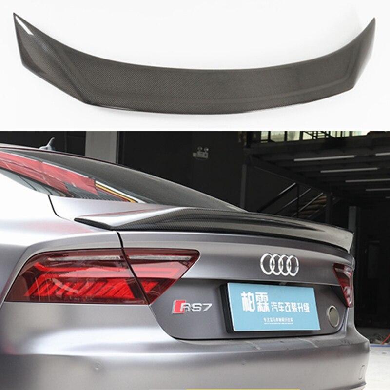 CARRO de Fibra De carbono ASA TRASEIRA TRONCO SPOILER PARA AUDI A7 S7 RS7 2013 2014 2015 2016 (karztec estilo)