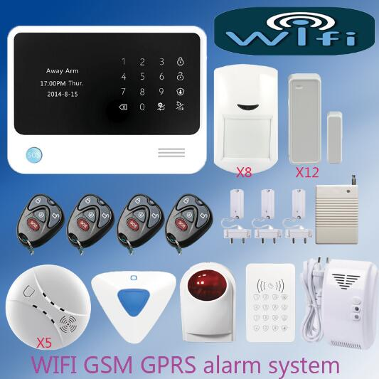 Wireless Internet GSM Alarm System Home Alarm Security Wireless RFID keypad +Smoke Detector+Indoor/outdoor siren+ Gas Detector wireless smoke fire detector for wireless for touch keypad panel wifi gsm home security burglar voice alarm system