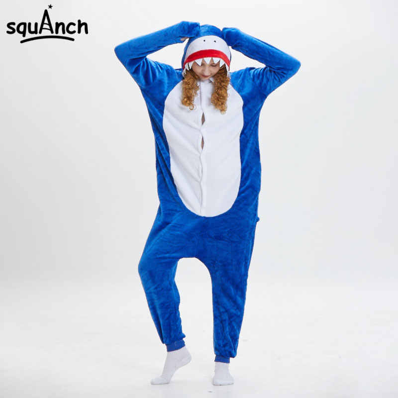 d49fe1303158 Detail Feedback Questions about Blue Shark Kigurumi Funny Cartoon Onesie  Animal Pajama Flannel Soft Warm Women Men Adult Party Wear Festival  Jumpsuit Sleep ...