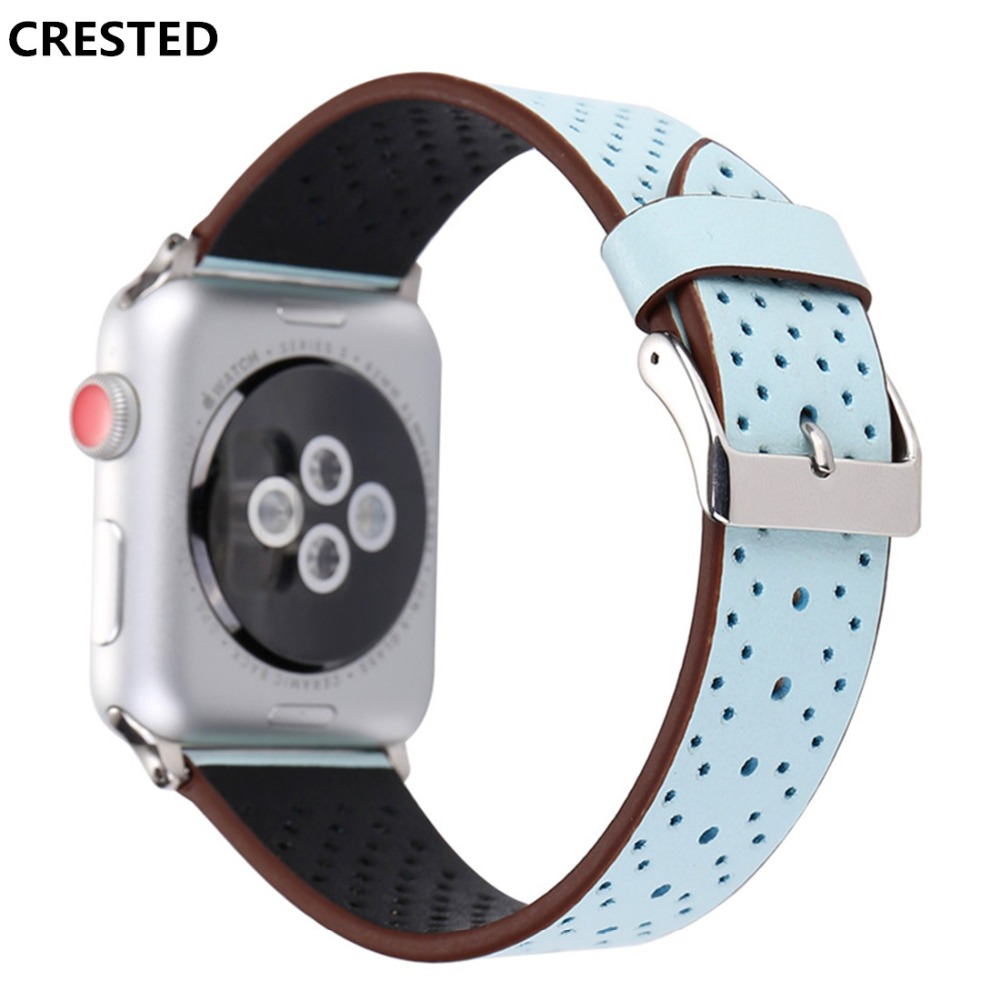 CRESTED sport Leather strap For Apple watch band 42mm/38mm iwatch series 3/2/1 wrist bands breathable bracelet watchband Belt crested crazy horse strap for apple watch band 42mm 38mm iwatch series 3 2 1 leather straps wrist bands watchband bracelet belt