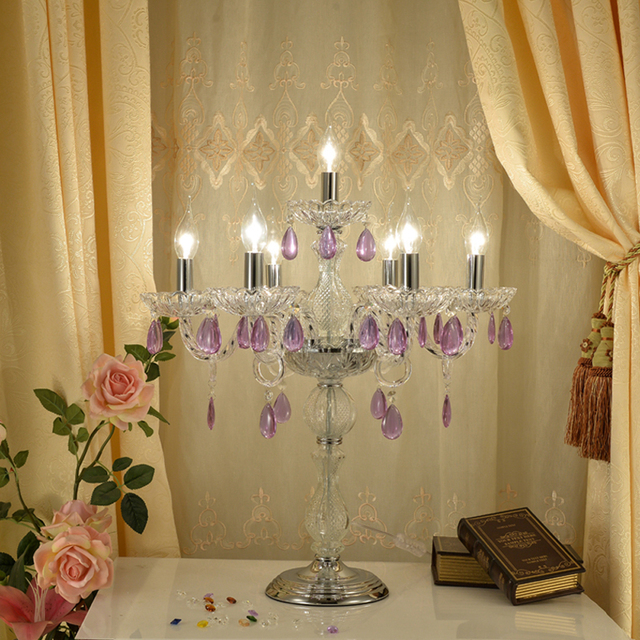 Stained Glass Table Lamp Candle Table Lamps Led Candle Light Candlestick  Table Lamp Wedding Light Table