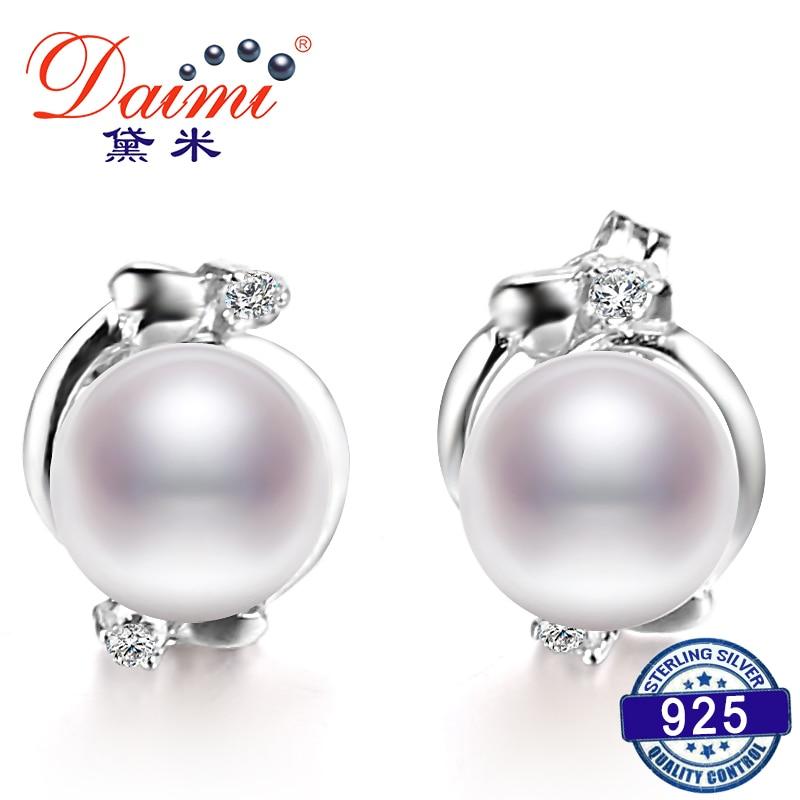 2019 Verkauf Perle Ethnische Ohrringe Echt 7-8mm/8-9mm Weiße Perle Ohrringe Blume Ohrring Für Weibliche Geburtstag Geschenk Ausreichende Versorgung