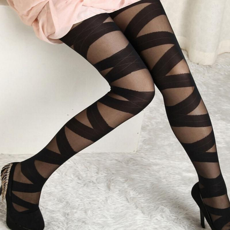 Women Sexy Stockings Summer Autumn Hollow Tights Japanese Lace Pantyhose Stockings High Elastic Vintage Pantyhose image