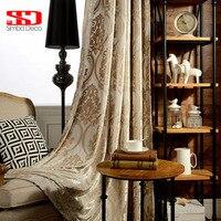 Nhung Rèm Cửa Sang Trọng cho Phòng Khách Vải Màn Treo Lên Damask European Rèm Cửa Sổ Cho Phòng Ngủ Shading 70% Bảng Điều Khiển Duy Nhất