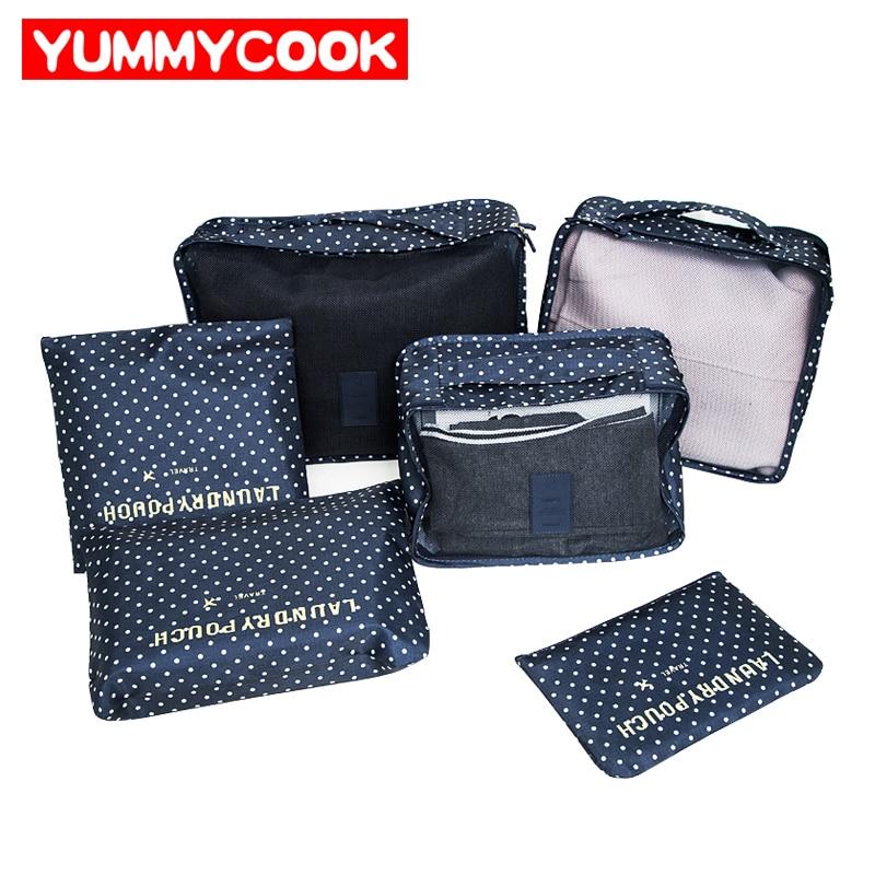 6 pz/set Viaggi Bagagli Borse Vestiti Scarpe Toeletta Organizzatore Bagagli Pouch Kit Commercio All'ingrosso Bulk Lots Accessori Forniture Stuff