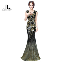 LOVONEY Sexy Deep V Neck Mermaid Sequin Evening Dresses Long Evening Party Dress Backless Formal Dress