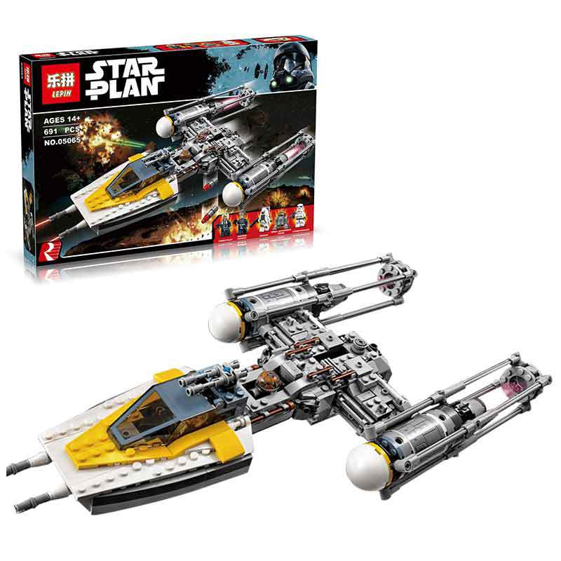New 691Pcs Lepin 05065 Genuine Star War Series The Y-wing Starfighter Building Blocks Bricks Gift Classic toys for kid children lepin 02012 city deepwater exploration vessel 60095 building blocks policeman toys children compatible with lego gift kid sets