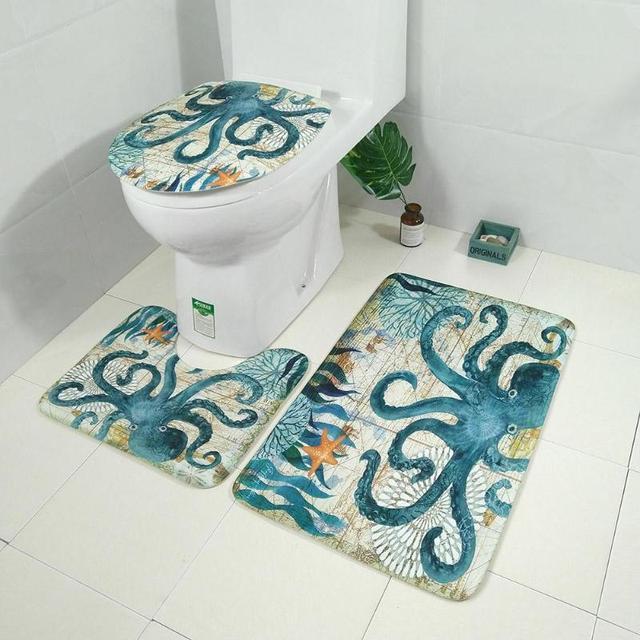 3pcs Bath Mats Ocean Animal Underwater World Anti Slip Bathroom Mat Set Floor Bath Mats Washable Bathroom Toilet Rugs