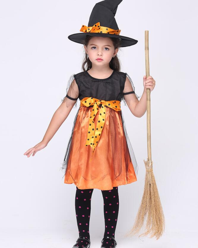 Halloween Costume Kids Girls Orange Witch Children Witch Cosplay Costumes Carnival Party Supplies  A293