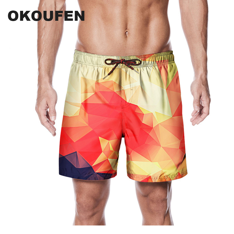 Board Shorts Okoufen Summer Shorts Men Board Shorts 3d Gradient Plaid Men Beach Shorts Men Bermuda Short Quick Dry Silver Mens Boardshorts Latest Fashion