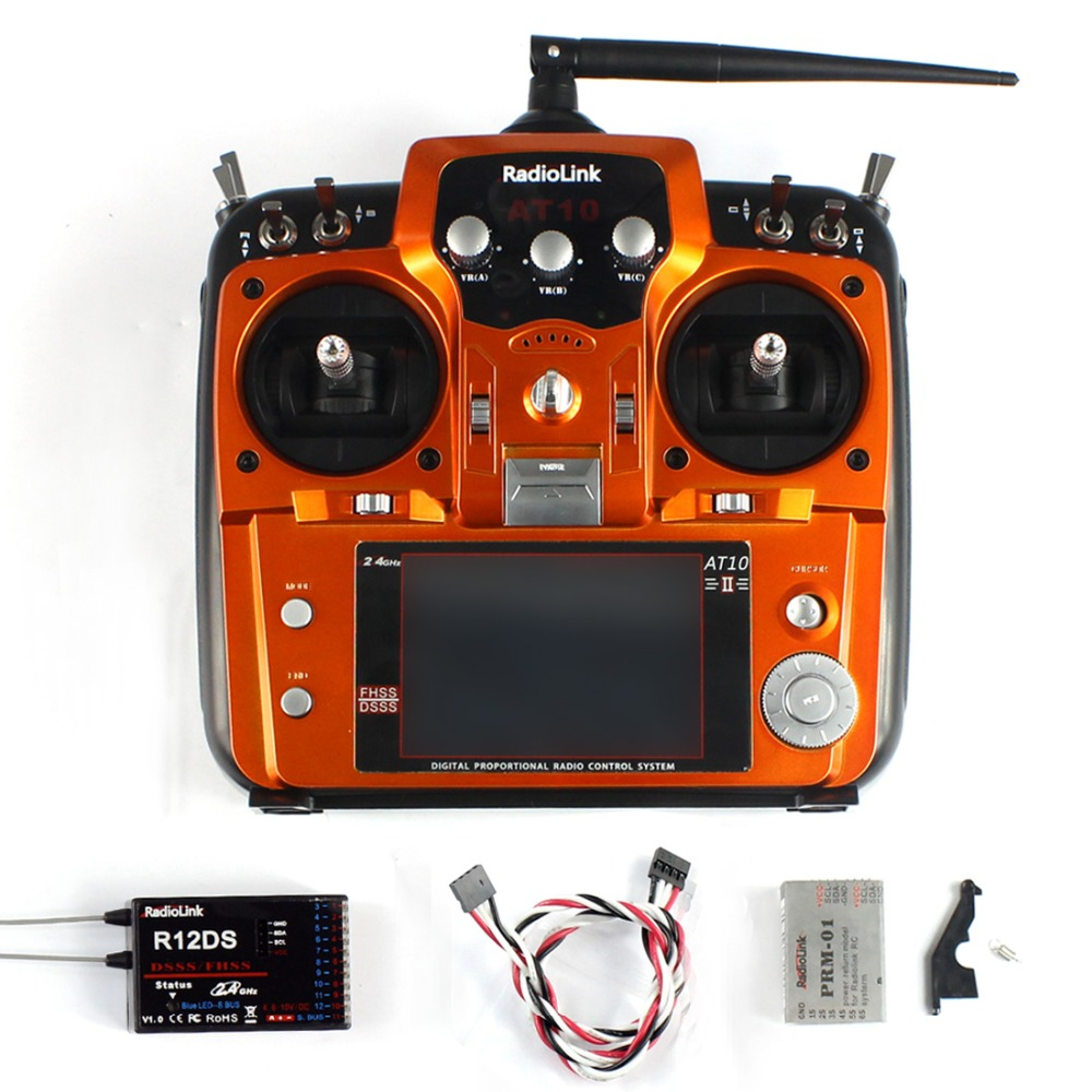 Quality RadioLink AT10 II RC Transmitter 2.4G 10CH Remote Control System with R12DS Receiver for RC Airplane Helicopter graupner mz 12 radio controller rc transmitter 2 4ghz 6 ch remote control system with gr 18 receiver for rc airplane helicopter