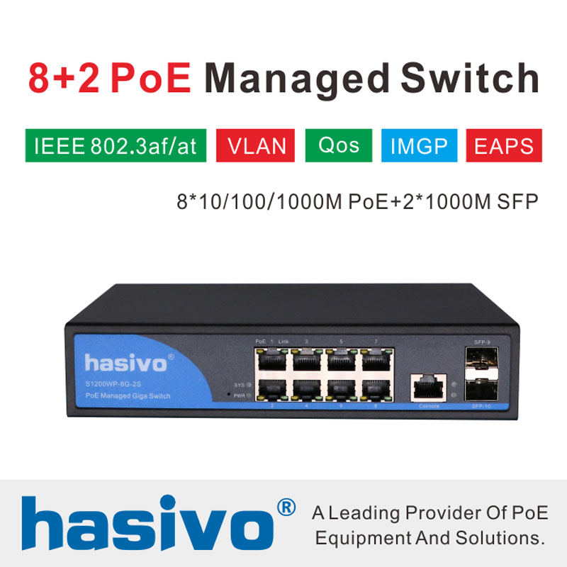 8 Port 10 100 1000Mbps PoE Ethernet Switch Managed Switch With 2 Gigabit SFP Slots IGMP